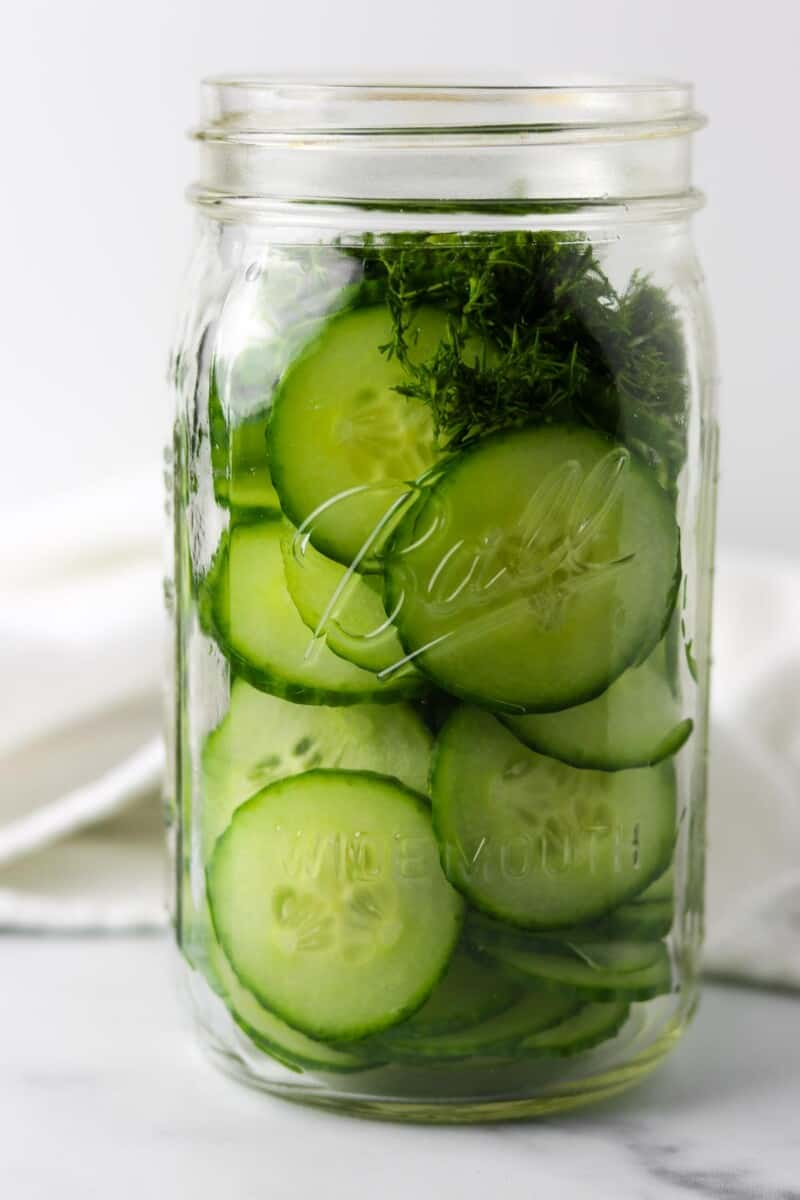 Sliced cucumbers and chopped dill in a jar.