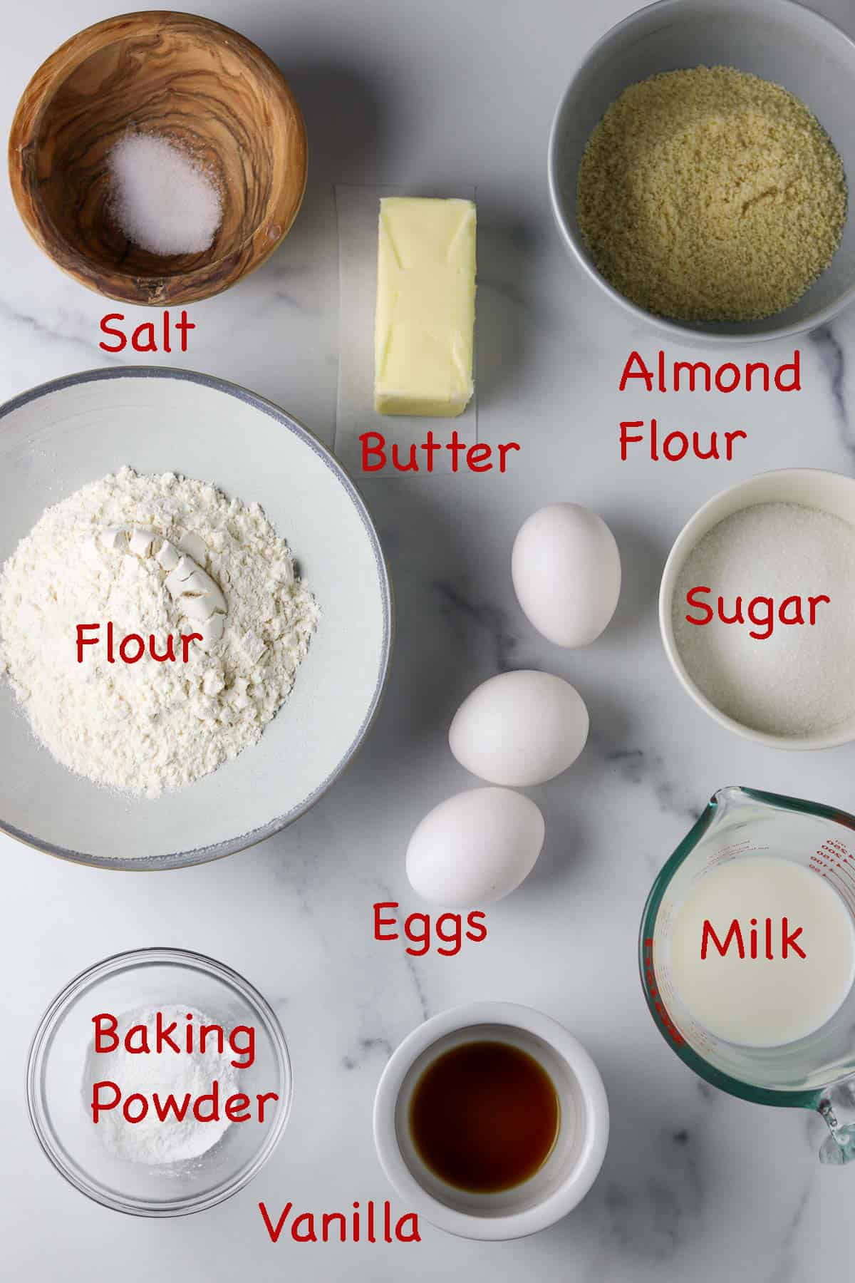 Labeled ingredients for Swedish Tosca Cake