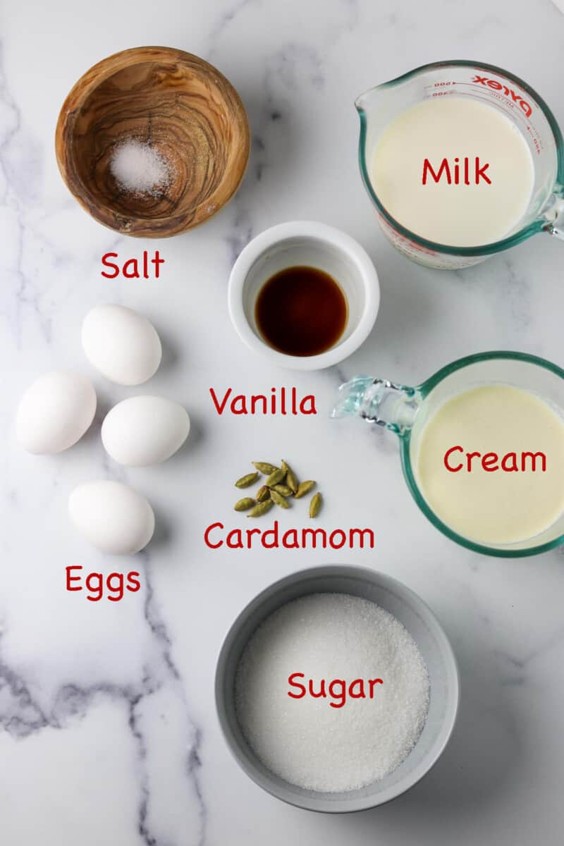 Labeled ingredients for Cardamom Ice Cream.