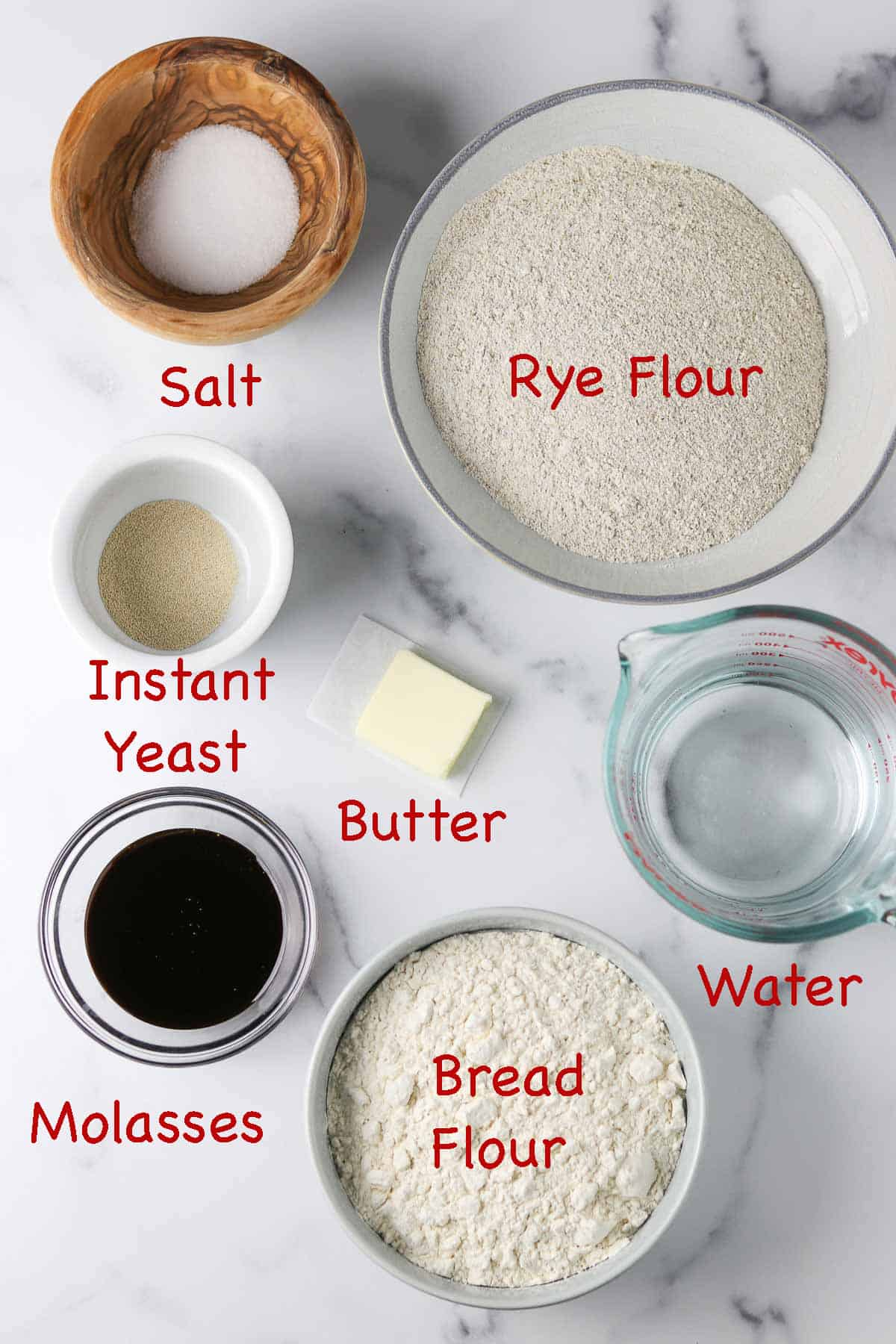 Labeled ingredients for Danish rye bread.