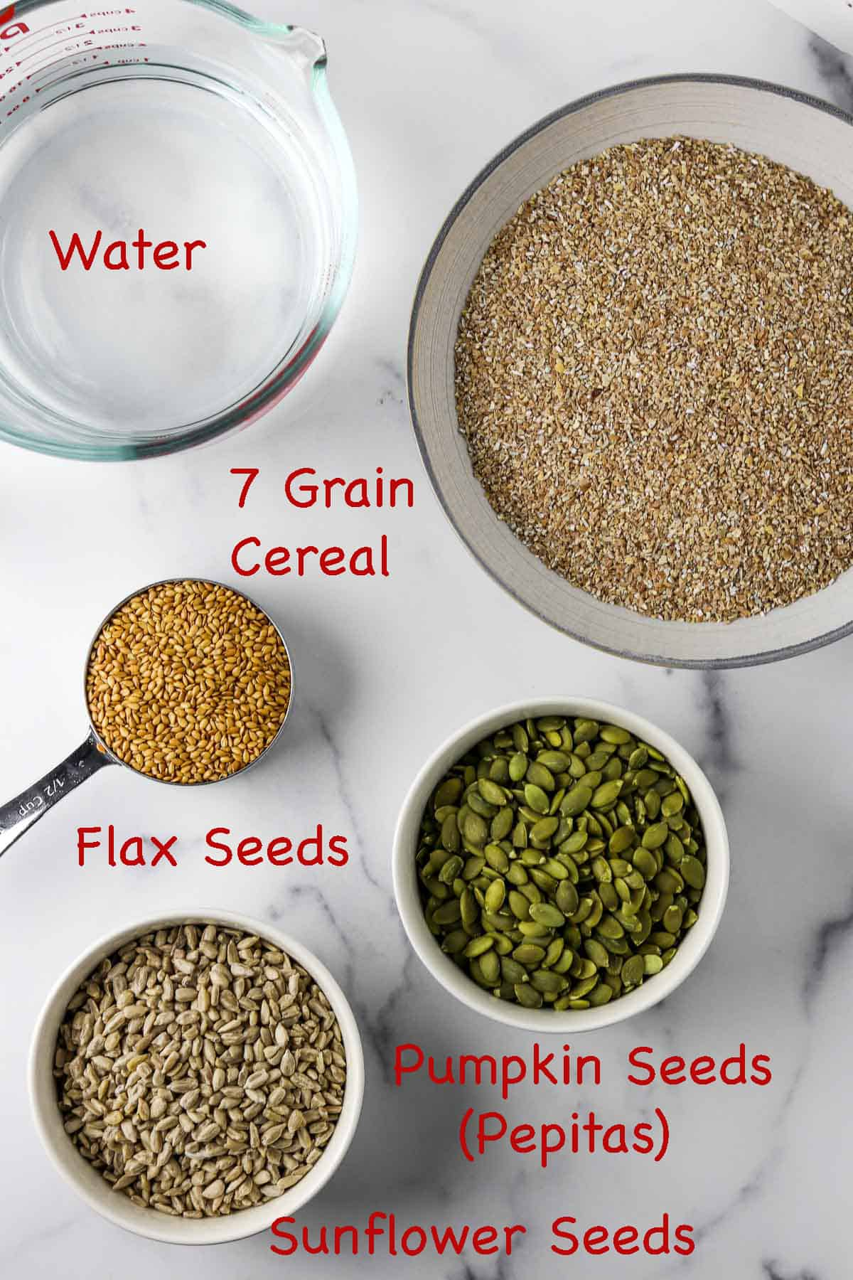 Labeled ingredients for soaker for Danish rye bread.