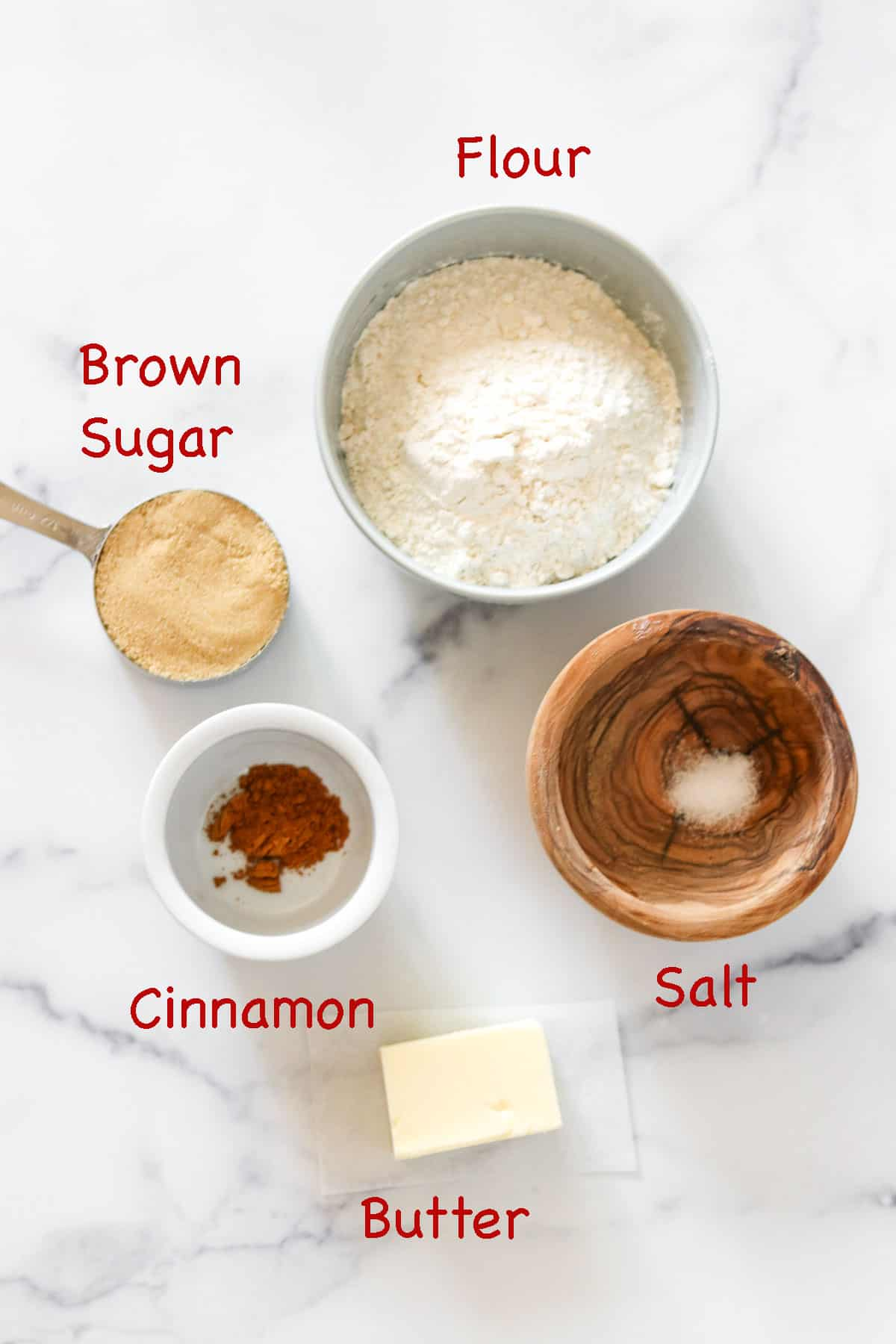 Labeled ingredients for crumb topping.