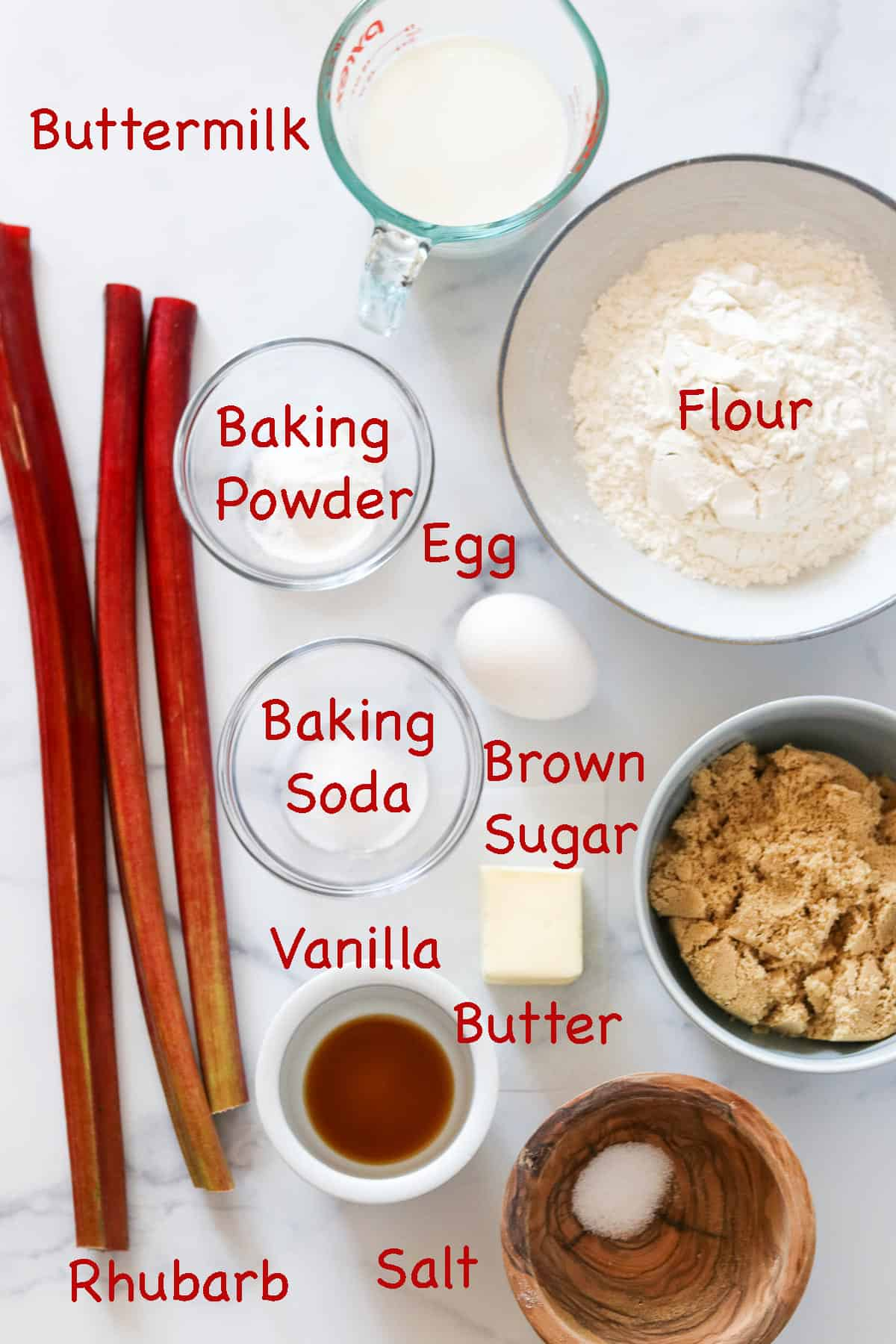 Labeled ingredients for Old-Fashioned Rhubarb Crumb Cake.