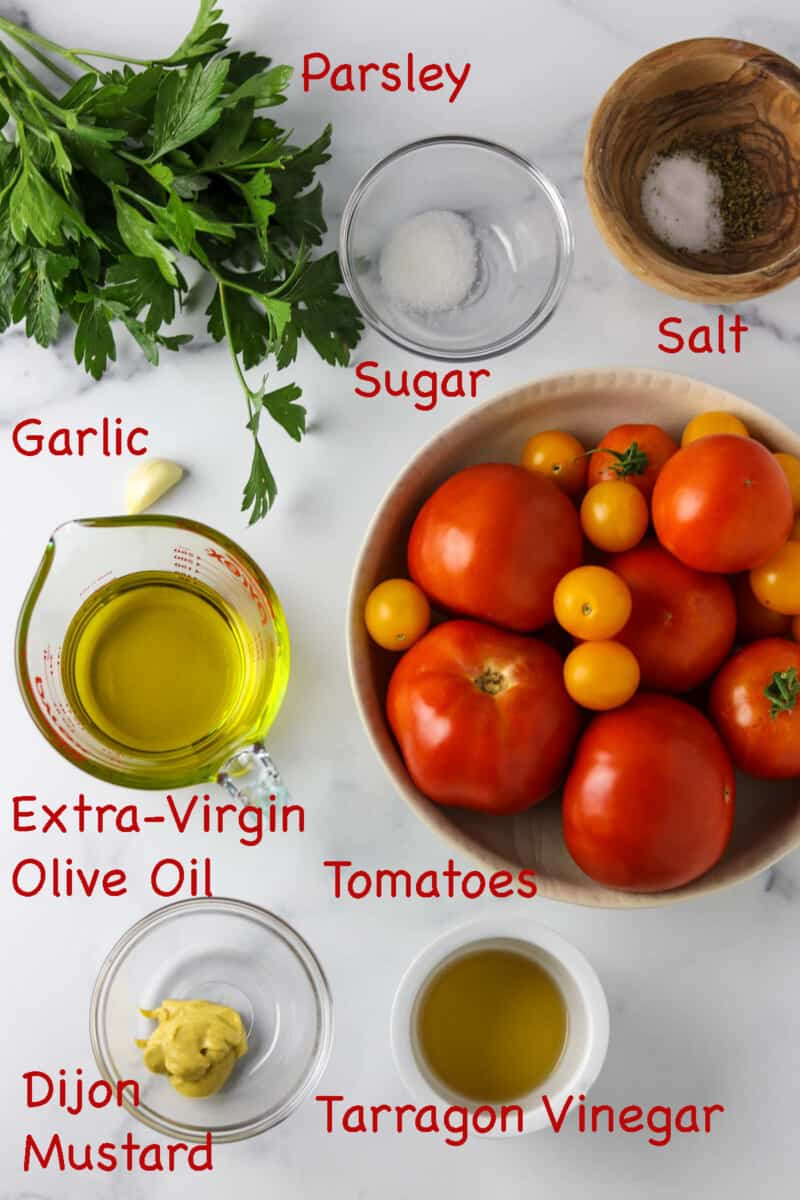 Labeled ingredients for Marinated Garden Tomatoes