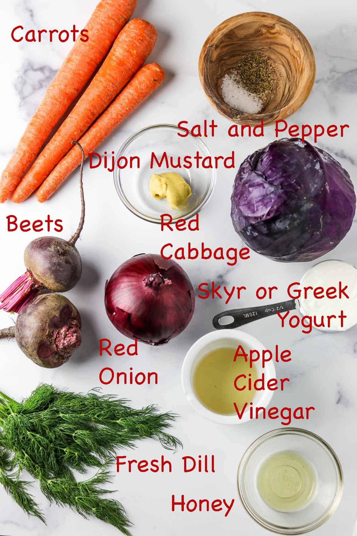Labeled ingredients for Nordic Red Cabbage Slaw.