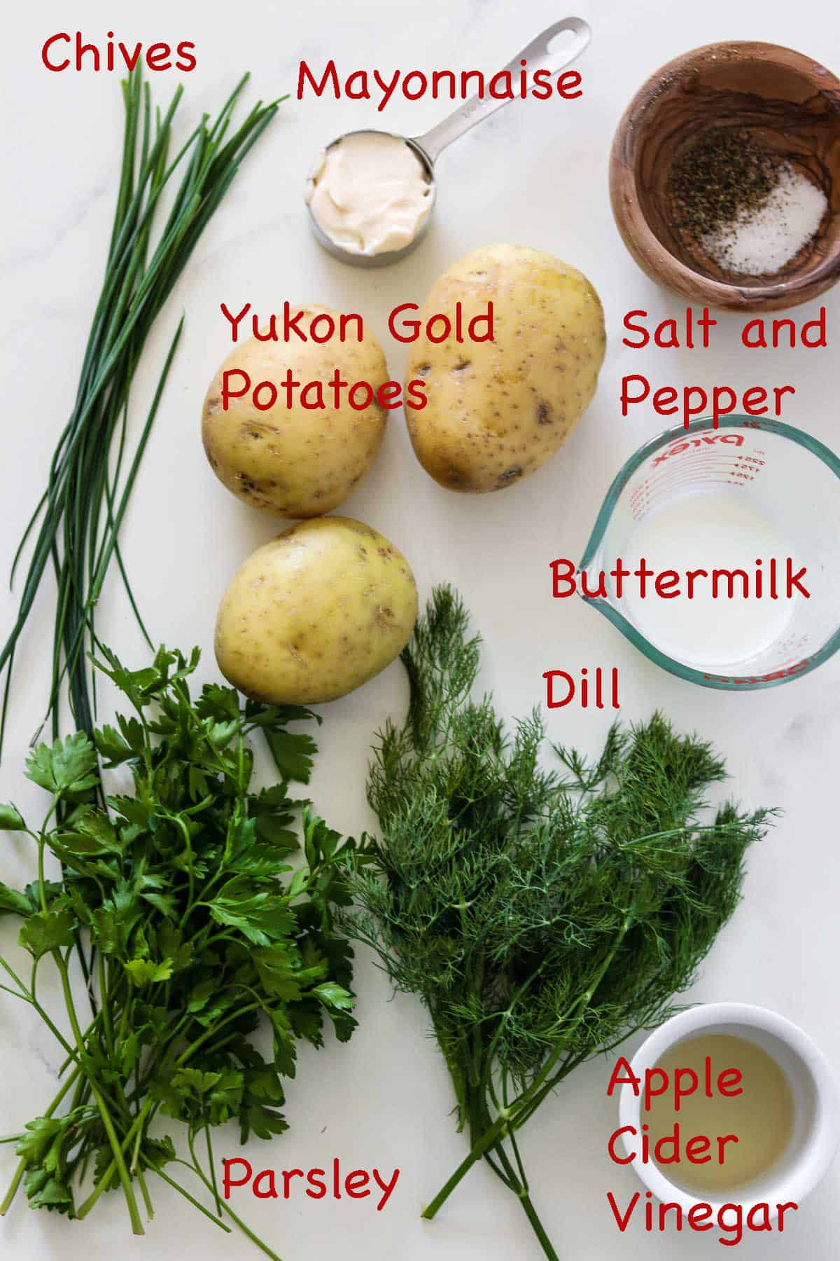 Labeled ingredients for Creamy Herbed Potato Salad