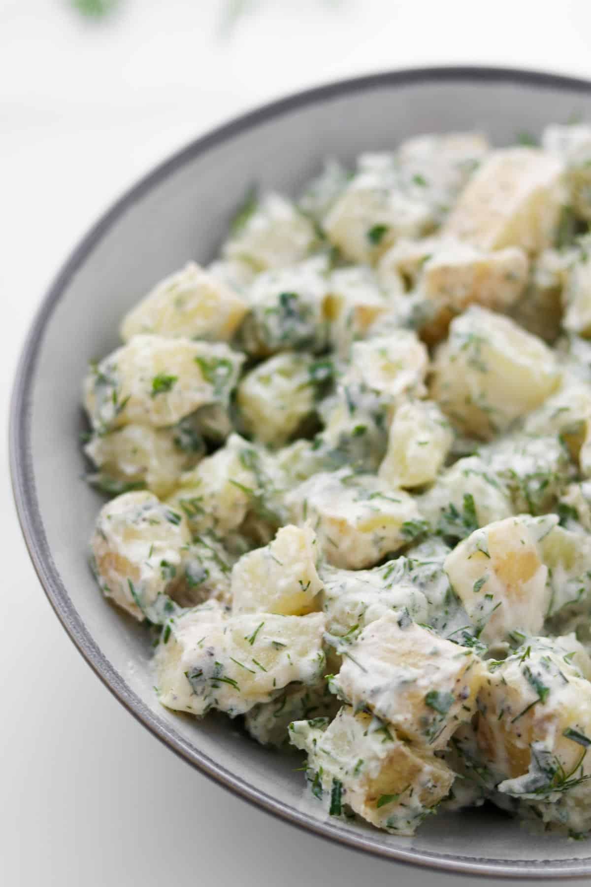 Close up of Creamy Herbed Potato Salad.