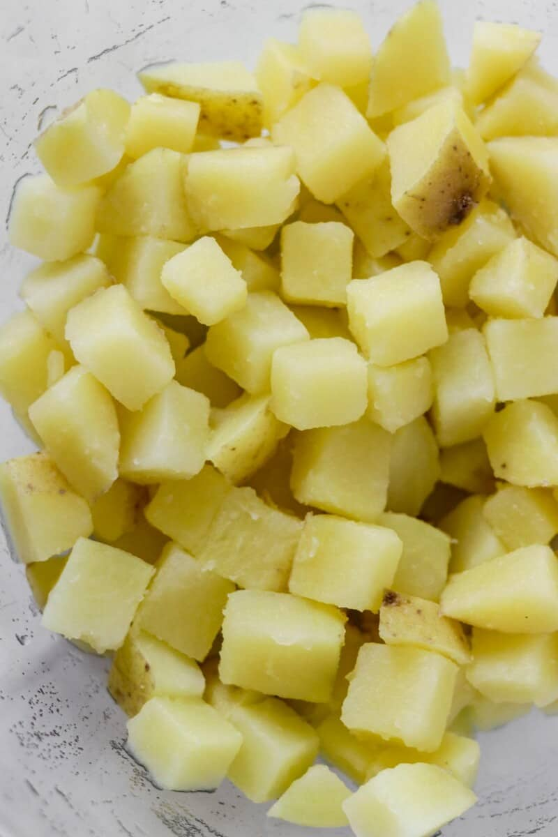 Cooked potatoes in a bowl.