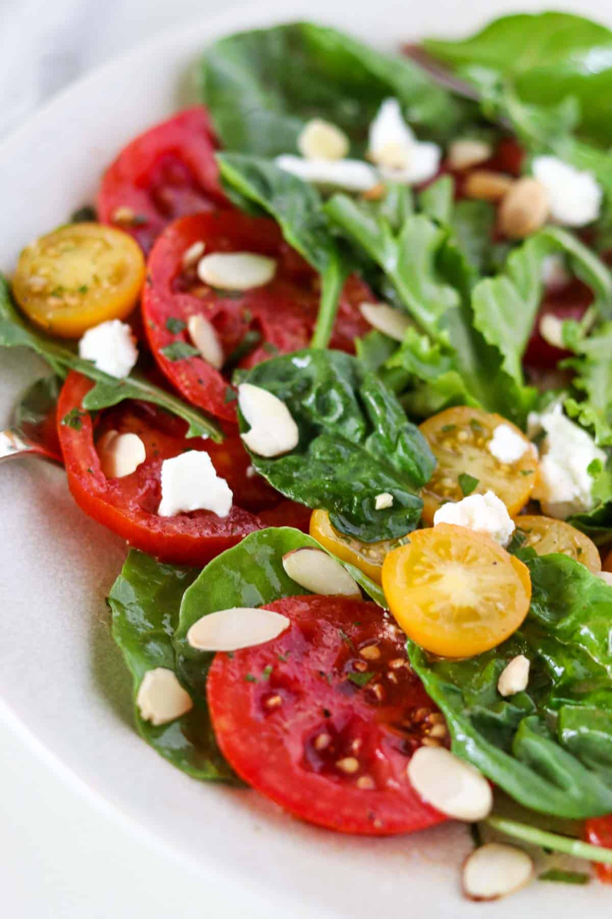 Tomato and goat cheese salad on a white plate.