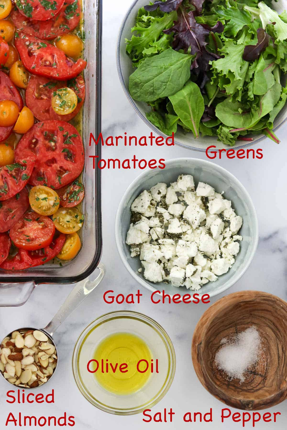 Labeled ingredients for Swedish Marinated Tomato and Goat Cheese Salad