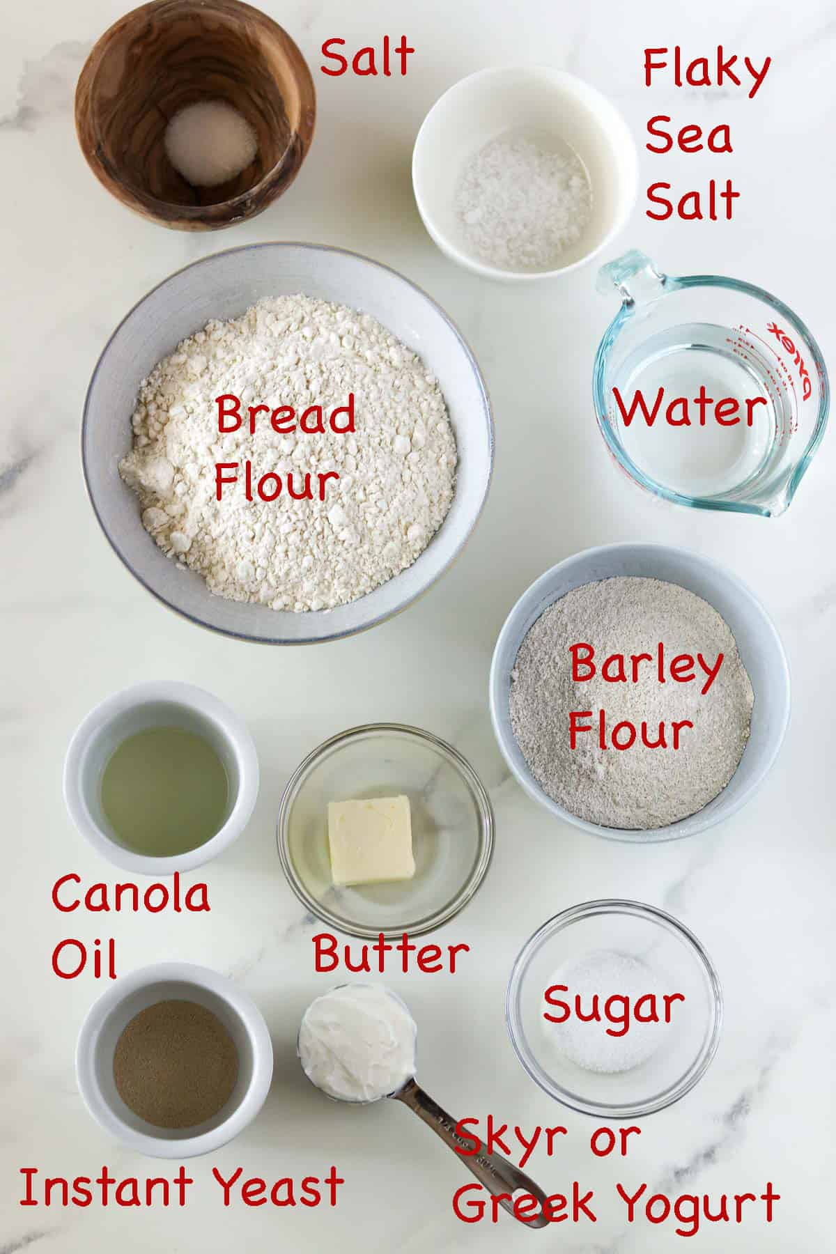 Labeled ingredients for Soft Swedish Flatbreads (tunnbröd)