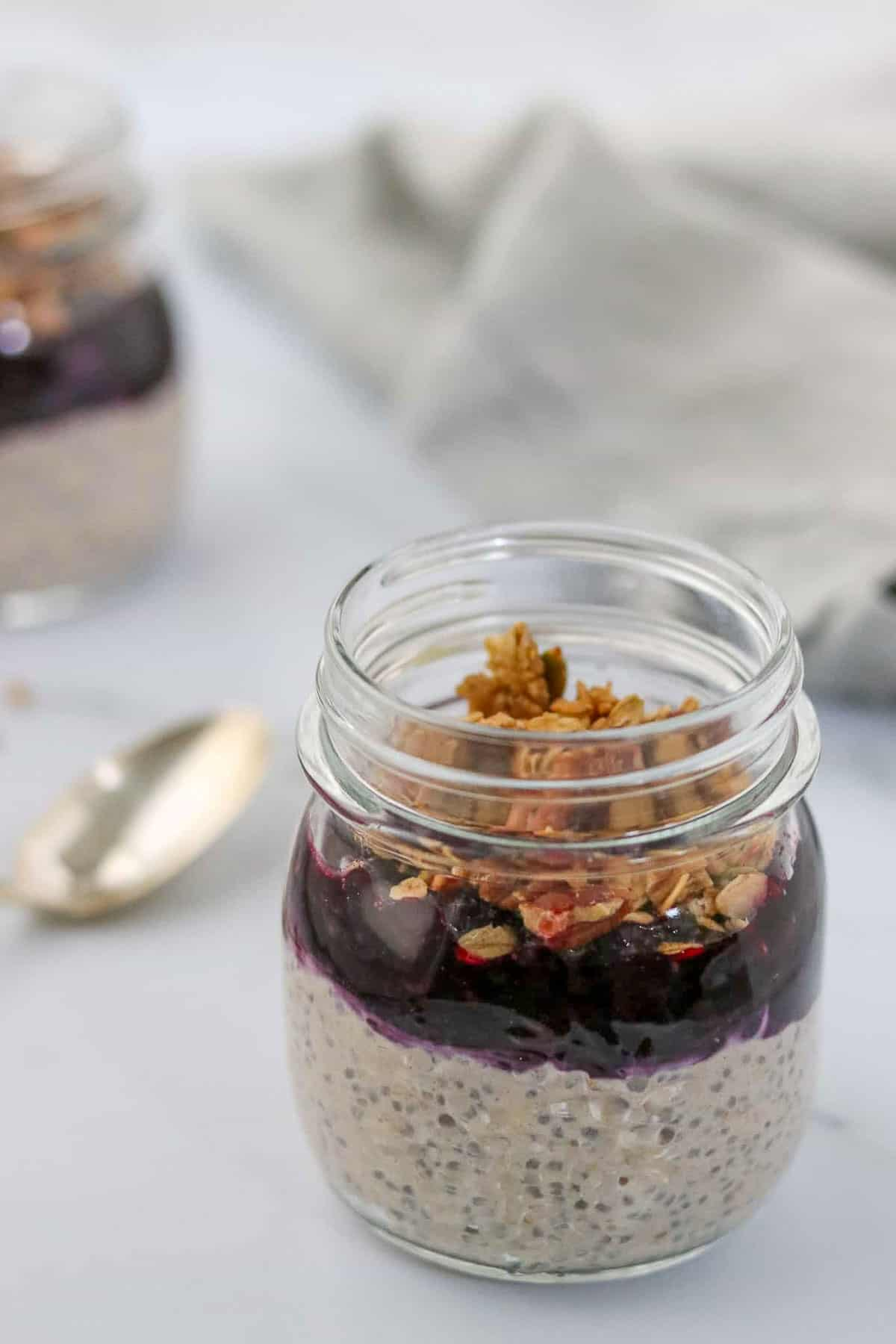 Overnight oats topped with blueberry compote and granola.