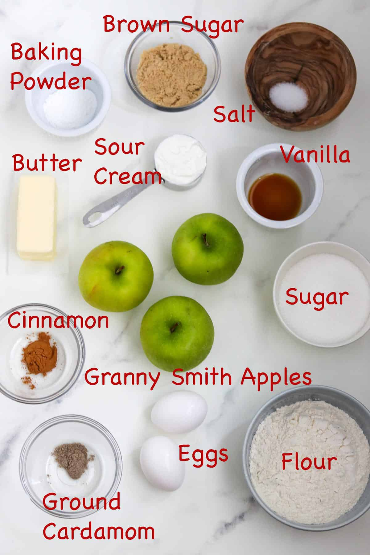 Labeled ingredients for Swedish Apple Cake.