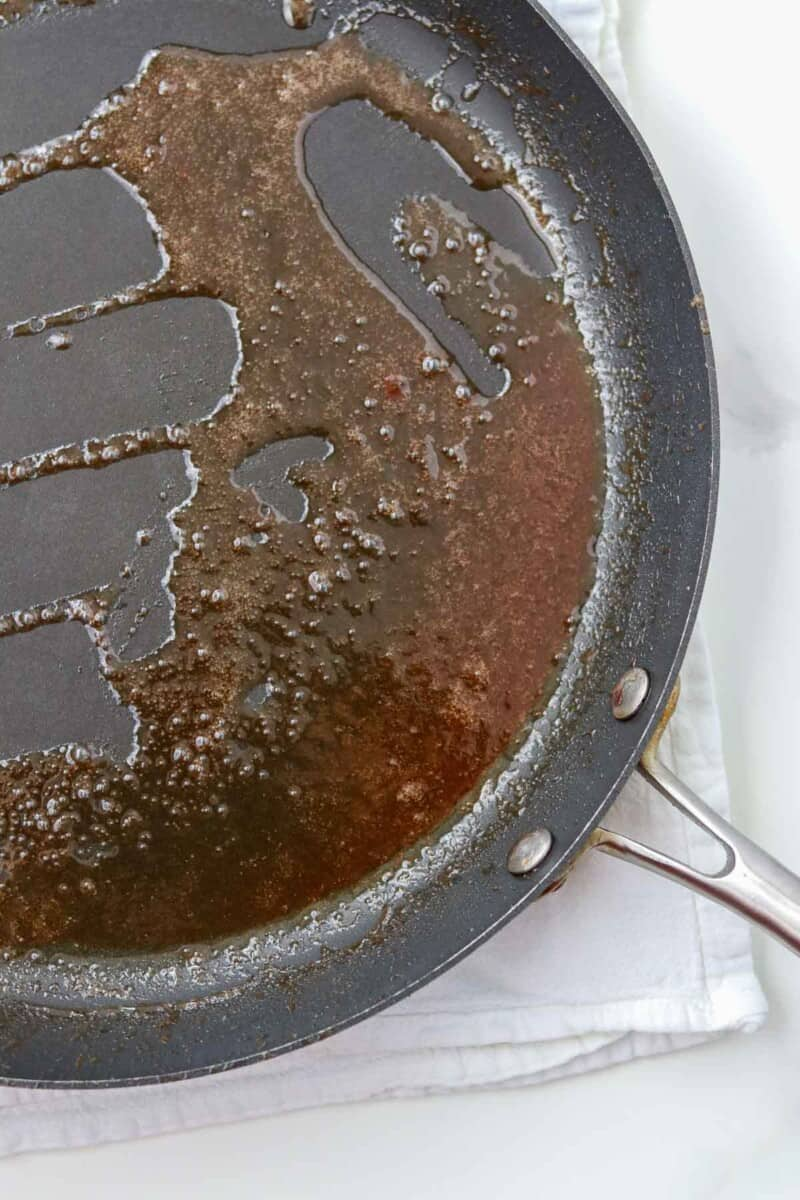 Syrup in a skillet.