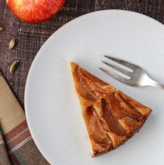Close up of a slice of Swedish Apple Cake.