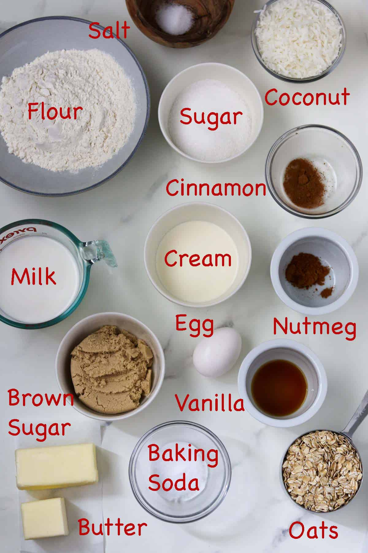 Labeled ingredients for Danish Dream Cake.